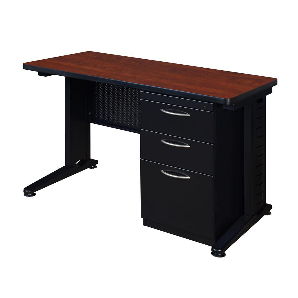 Pendulum Cherry 48 in. W x 24 in. D Single Pedestal Desk