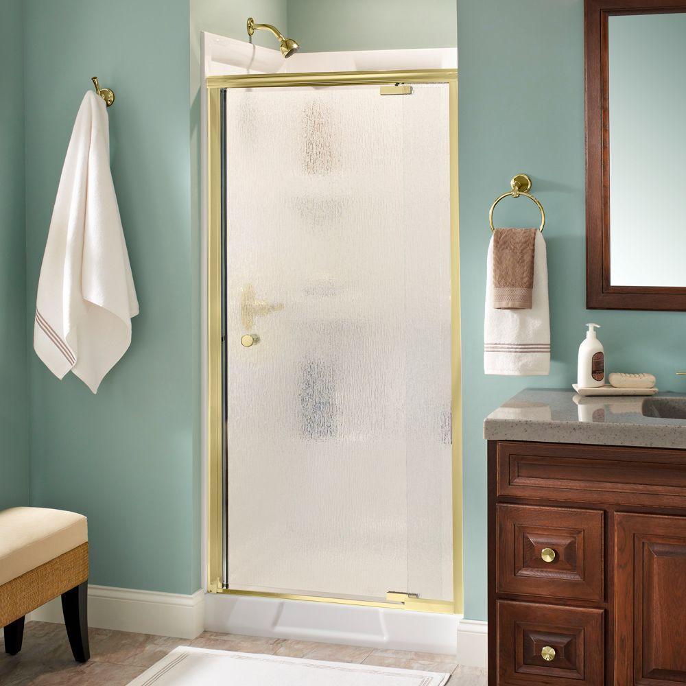 Delta Lyndall 36 in. x 66 in. Semi-Frameless Pivot Shower Door in Brass with Rain Glass