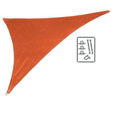 15 ft. x 12 ft. x 10 ft. Terracotta Right Triangle Ultra Shade Sail with Kit