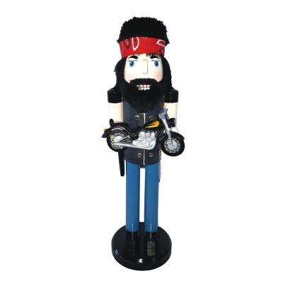 14 in. Biker Nutcracker with Motorcycle