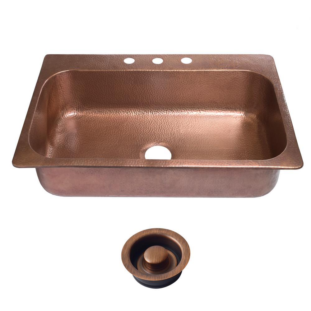 SINKOLOGY Angelico Drop-In Copper Sink 33 in. 3-Hole Single Bowl Kitchen  Sink in Antique Copper and Disposal Drain