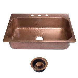 SINKOLOGY Angelico Drop-In Copper Sink 33 inch 3-Hole Single Bowl Kitchen Sink in Antique Copper and Disposal Drain by SINKOLOGY