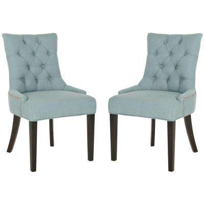 Abby Sky Blue/Espresso Linen Blend Side Chair (Set of 2)
