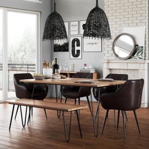 Strange Simpli Home 6 Piece Cognac Dining Set With Bench Briar 4 Gmtry Best Dining Table And Chair Ideas Images Gmtryco