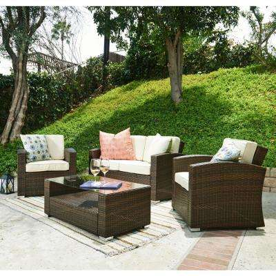 Bahia Dark Brown 4-Piece Wicker Patio Conversation Set with Beige Cushions