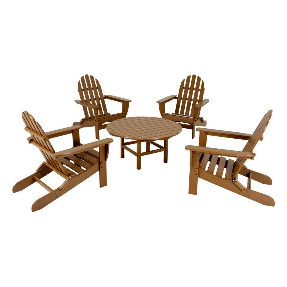 POLYWOOD Classic Teak 5-Piece Folding Adirondack Patio Conversation Set