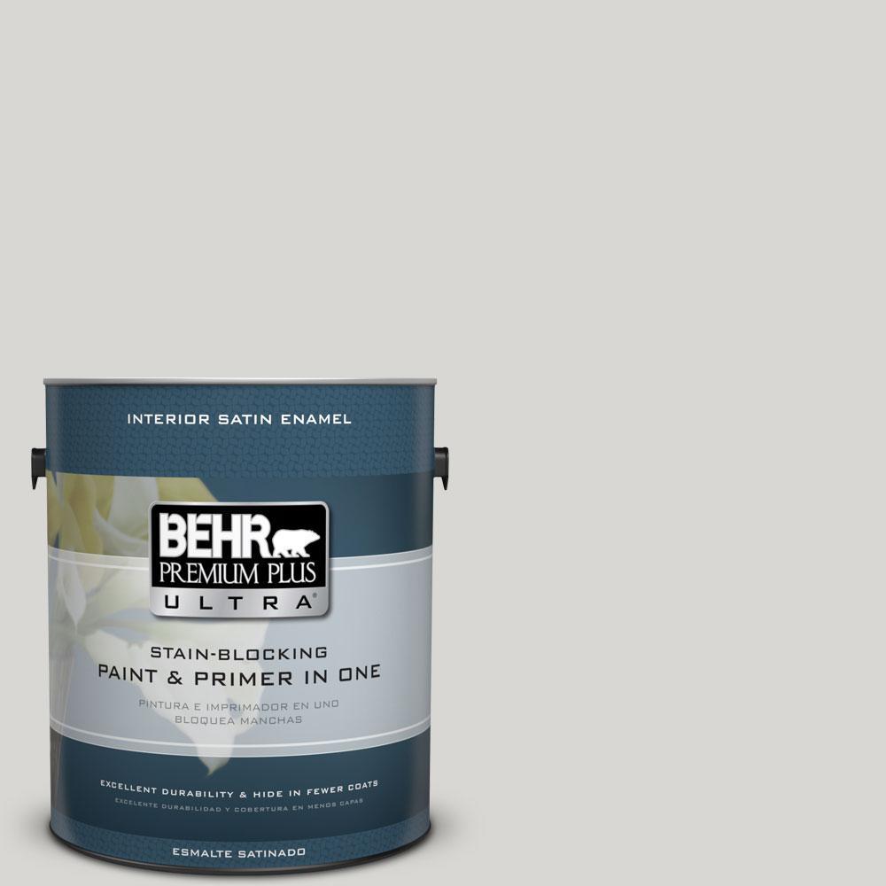 BEHR Premium Plus Ultra 1-gal. #ICC-23 Silver Tradition Satin Enamel Interior Paint