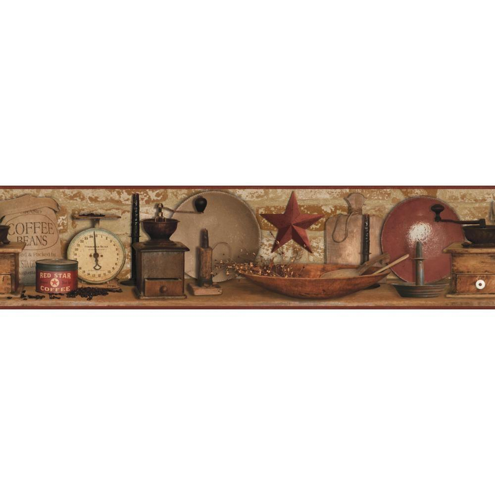 Country Keepsakes Country Coffee Wallpaper Border