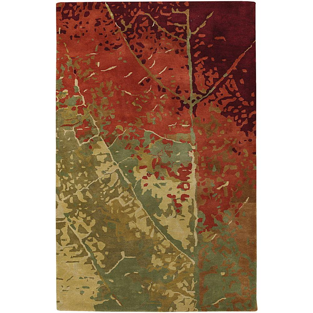 Chandra Nirvana Green/Red/Burgundy/Brown 7 ft. 9 in. x 10 ft. 6 in. Indoor Area Rug
