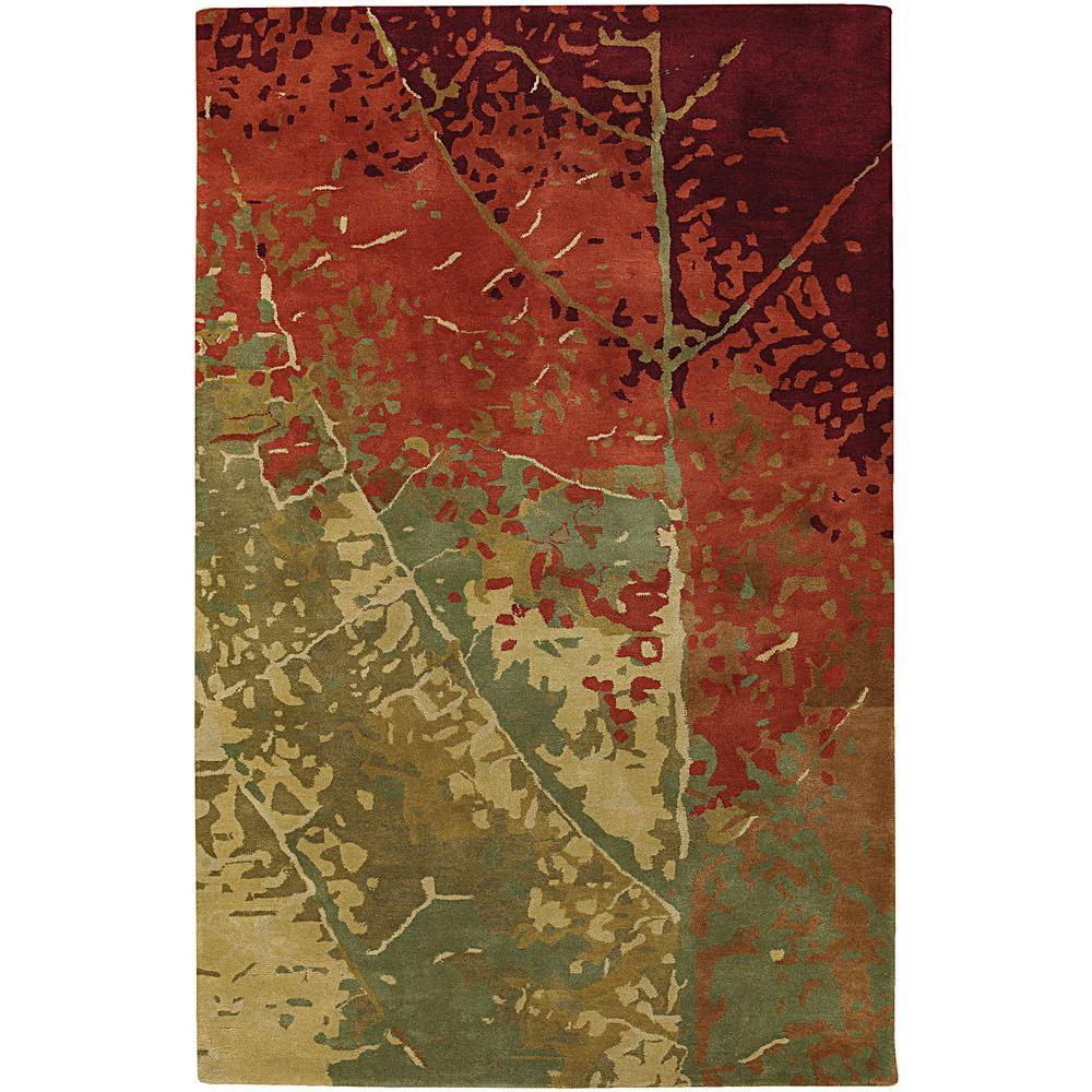 Nirvana Green/Red/Burgundy/Brown 9 ft. x 13 ft. Indoor Area Rug