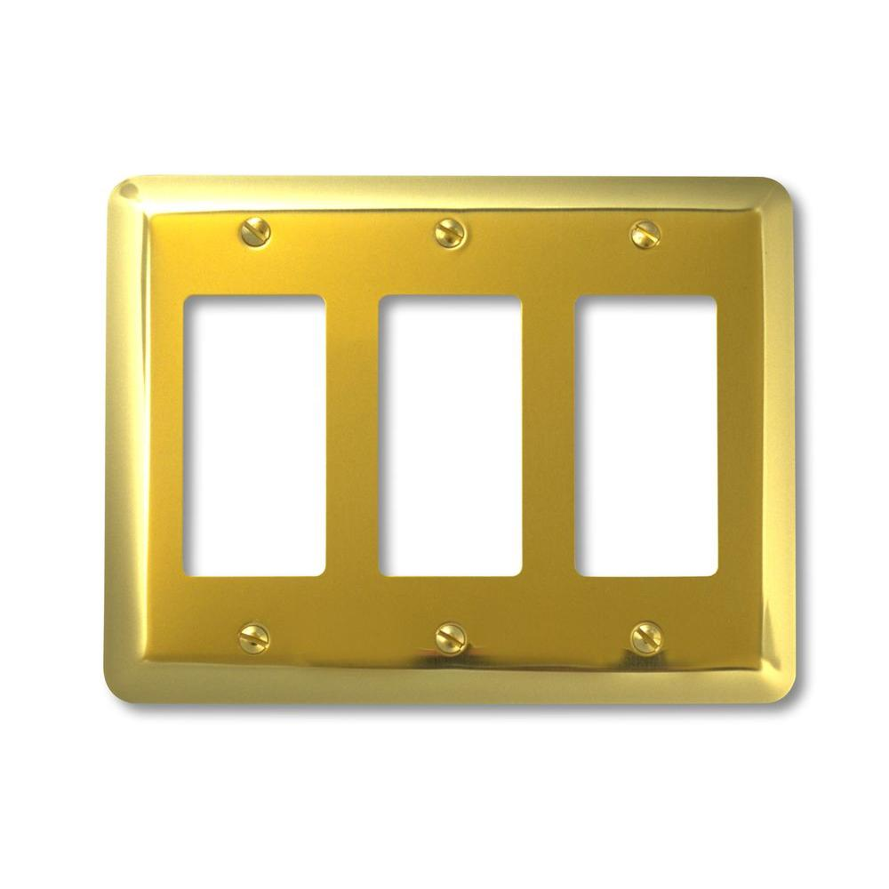 Amerelle Steel 3 Decora Wall Plate - Bright Brass