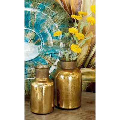 Rustic Yellow and Gold Glass Metal Apothecary Jars (Set of 3)