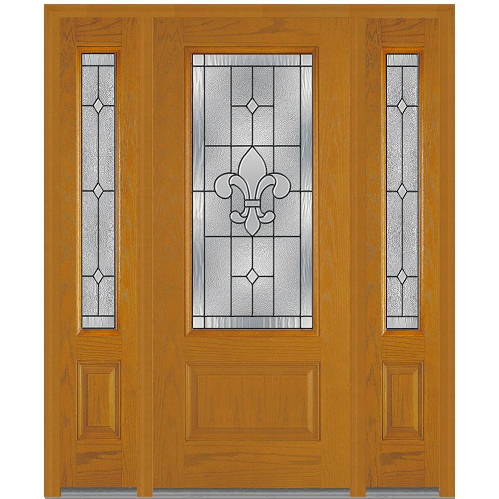 Mmi Door 68 5 In X In Carrollton Decorative Glass 3 4 Lite Finished Fiberglass Oak