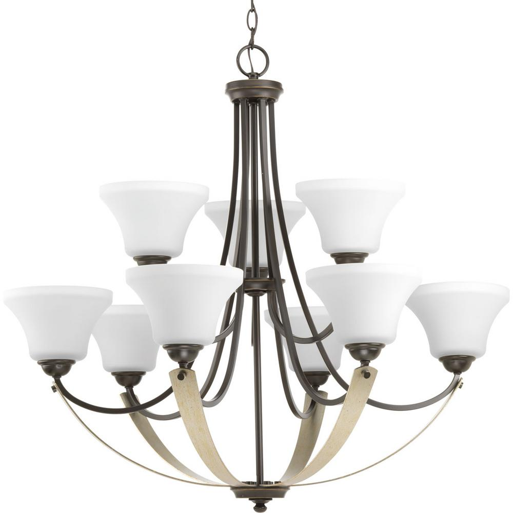 Progress Lighting Noma Collection 9-light Antique Bronze Chandelier with Etched Glass Shade
