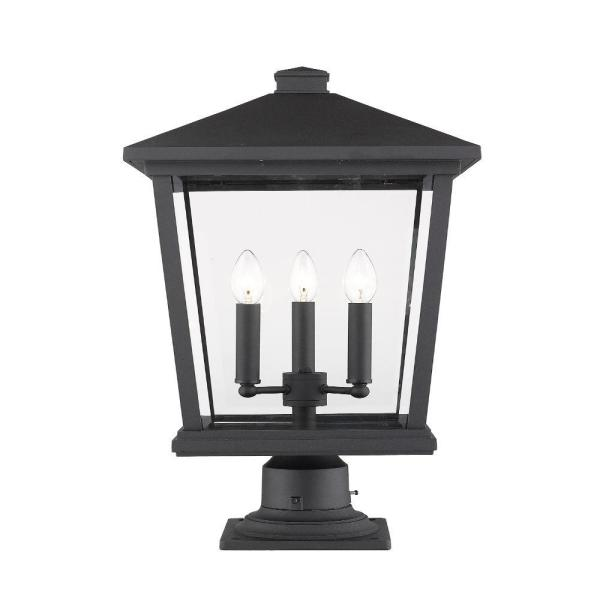 Filament Design 3 Light Black Outdoor Pier Mounted Fixture With Clear Beveled Glass Shade Hd Te34612 The Home Depot