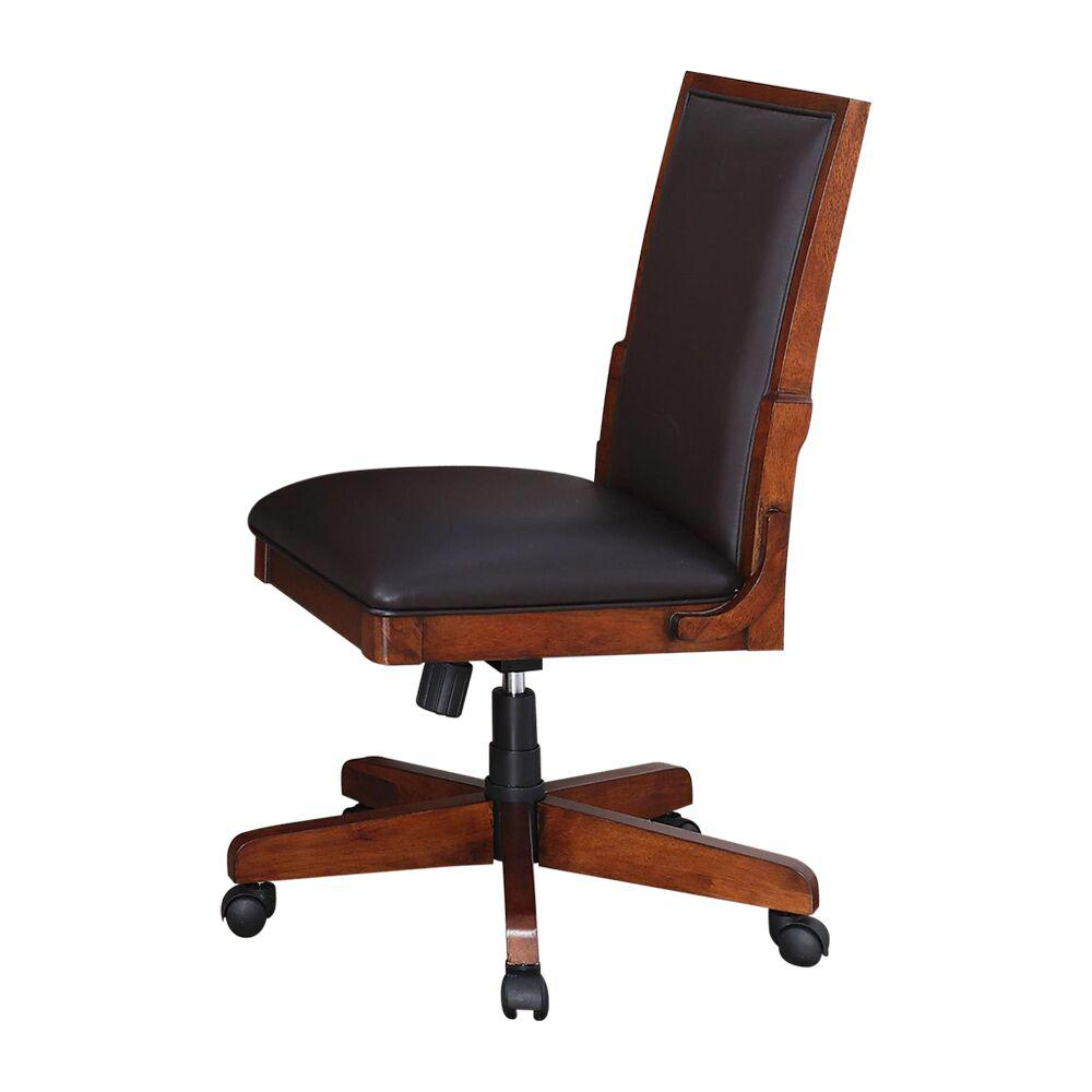 Turnkey Products Austere Antiques Nora Finish Tobacco Leather Side Chair