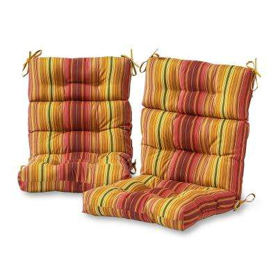 Kinnabari Stripe Stripe Outdoor High Back Dining Chair Cushion (2-Pack)