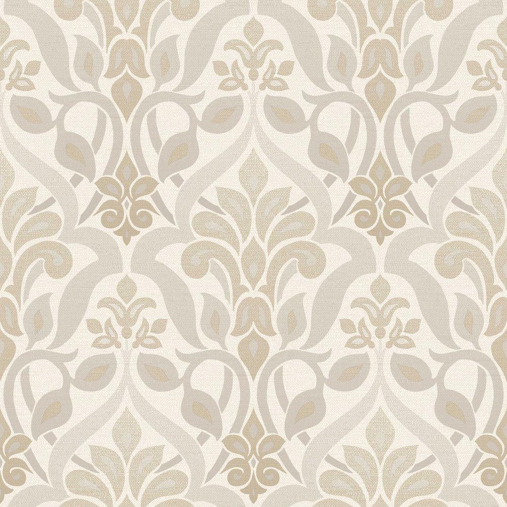 Beacon House Fusion Grey Ombre Damask Wallpaper