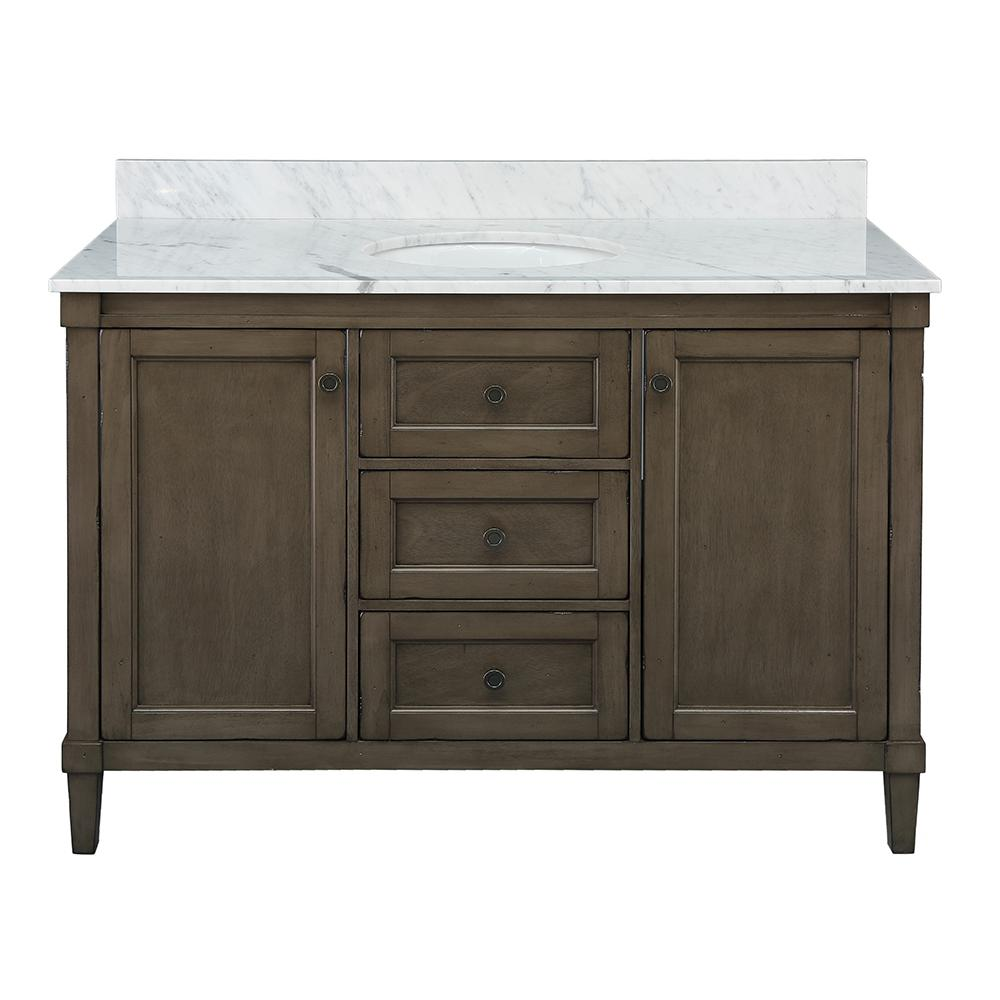 Home Decorators Collection Rosecliff 49 in. W x 22 in. D Vanity in Distressed Grey with Carrara Marble Vanity Top in White with White Sink
