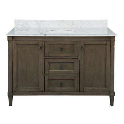 Rosecliff 49 in. W x 22 in. D Vanity in Distressed Grey with Carrara Marble Vanity Top in White with White Sink