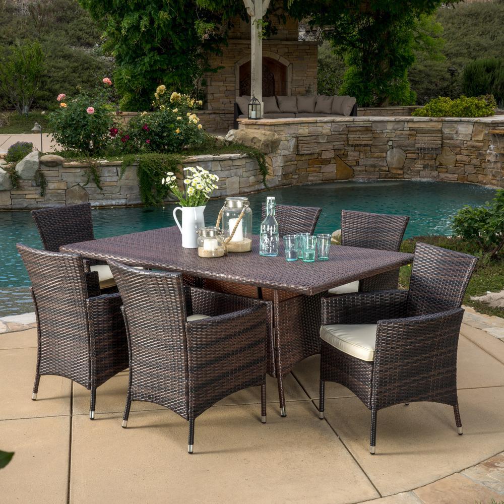 Jennifer Multi-Brown 7-Piece Wicker Outdoor Dining Set