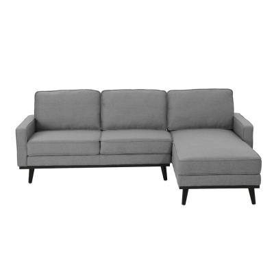 Matilda Mid Century Modern 2 Piece Gray Fabric Chaise Sectional