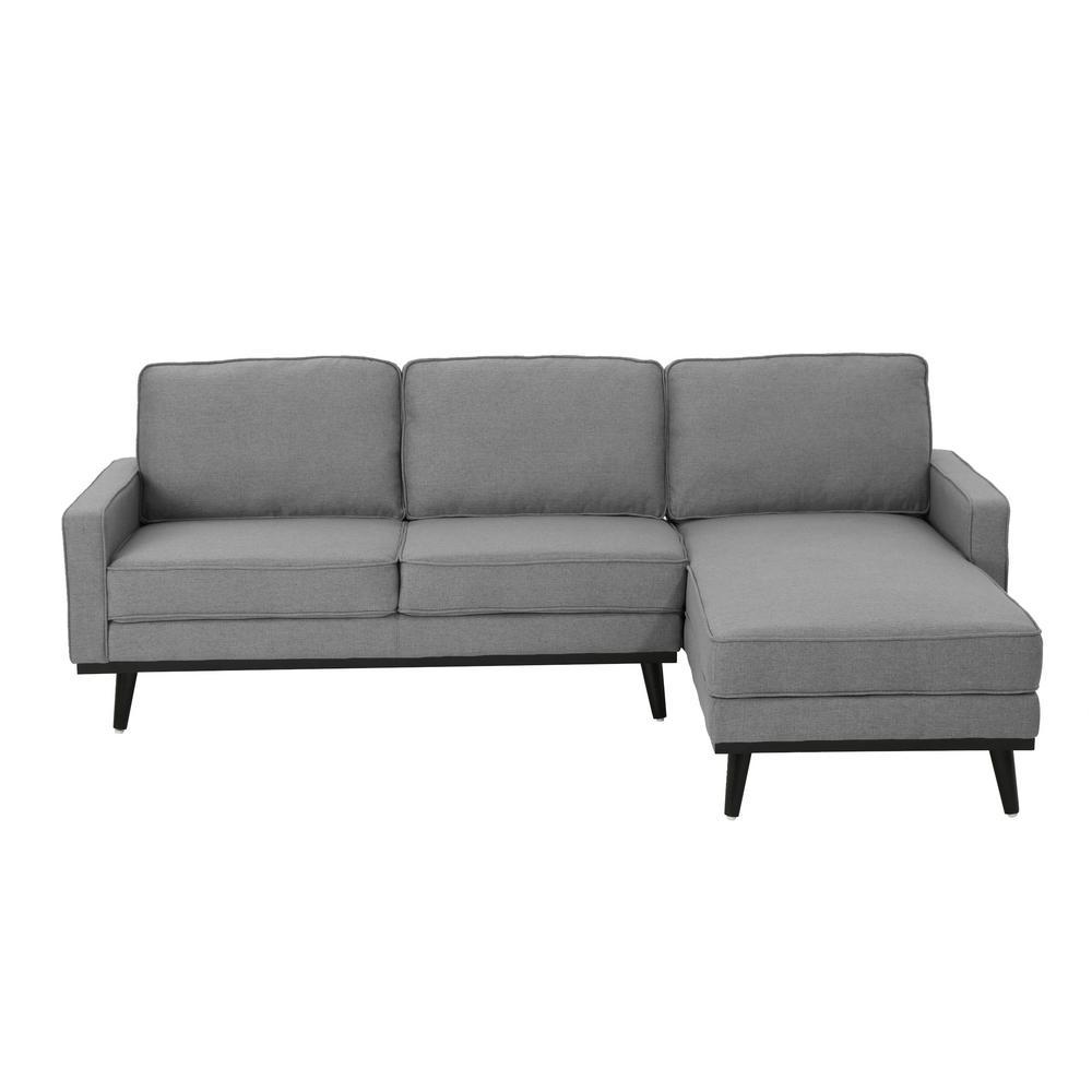 Matilda Mid-Century Modern 2-Piece Gray Fabric Chaise Sectional