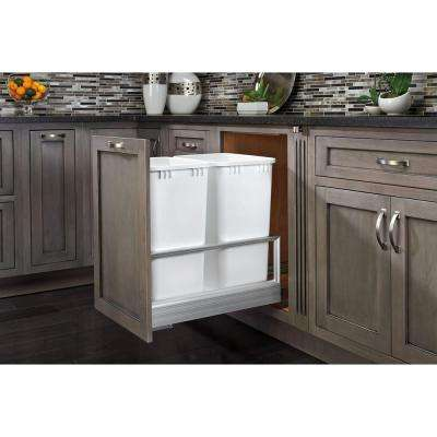 23.5 in. H x 15.62 in. W x 22 in. D Double 50 Qt. Pull-Out Brushed Aluminum and White Waste Container with Rev-A-Motion
