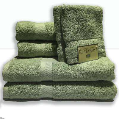 Deluxe 6-Piece Cotton Terry Bath Towel Set in Pacific