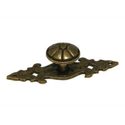 1 in. Burnish Brass Backplate Knob