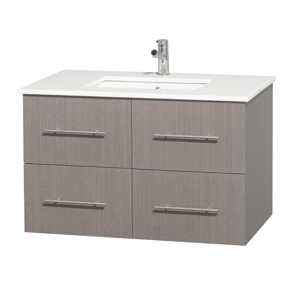 Wyndham Collection Centra 36 in. Vanity in Gray Oak with Solid-Surface Vanity Top in White and Undermount Sink
