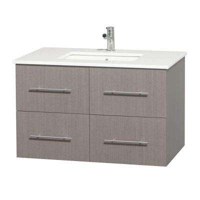 Centra 36 in. Vanity in Gray Oak with Solid-Surface Vanity Top in White and Undermount Sink