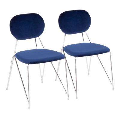 Gwen Stainless Steel with Blue Velvet Side Chair (Set of 2)