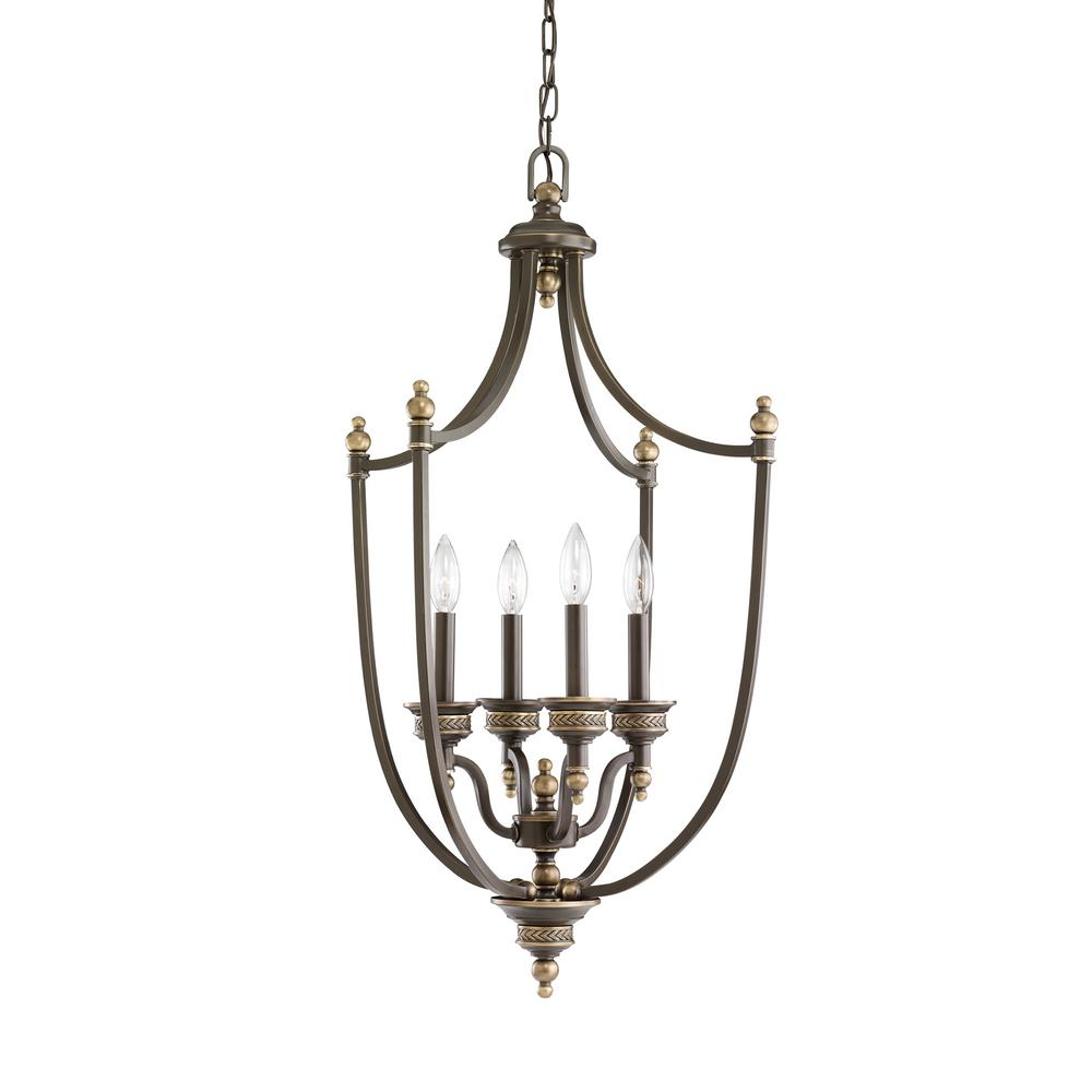Laurel Leaf 4-Light Estate Bronze Hall-Foyer Pendant