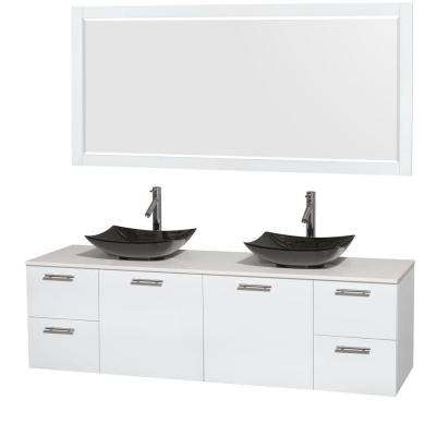 Amare 72 in. Double Vanity in Glossy White with Solid-Surface Vanity Top in White, Granite Sinks and 70 in. Mirror