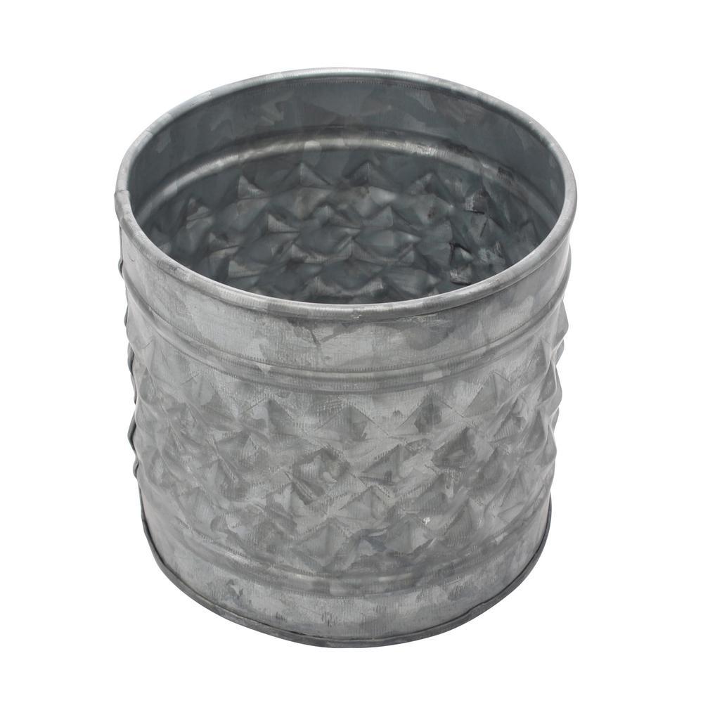 5 in. Antique Galvanized Metal Textured Planter or Decorative Vase