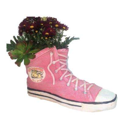 26 in. Red High Top Sneaker Shoe Planter (Holds 6 in. Pot)