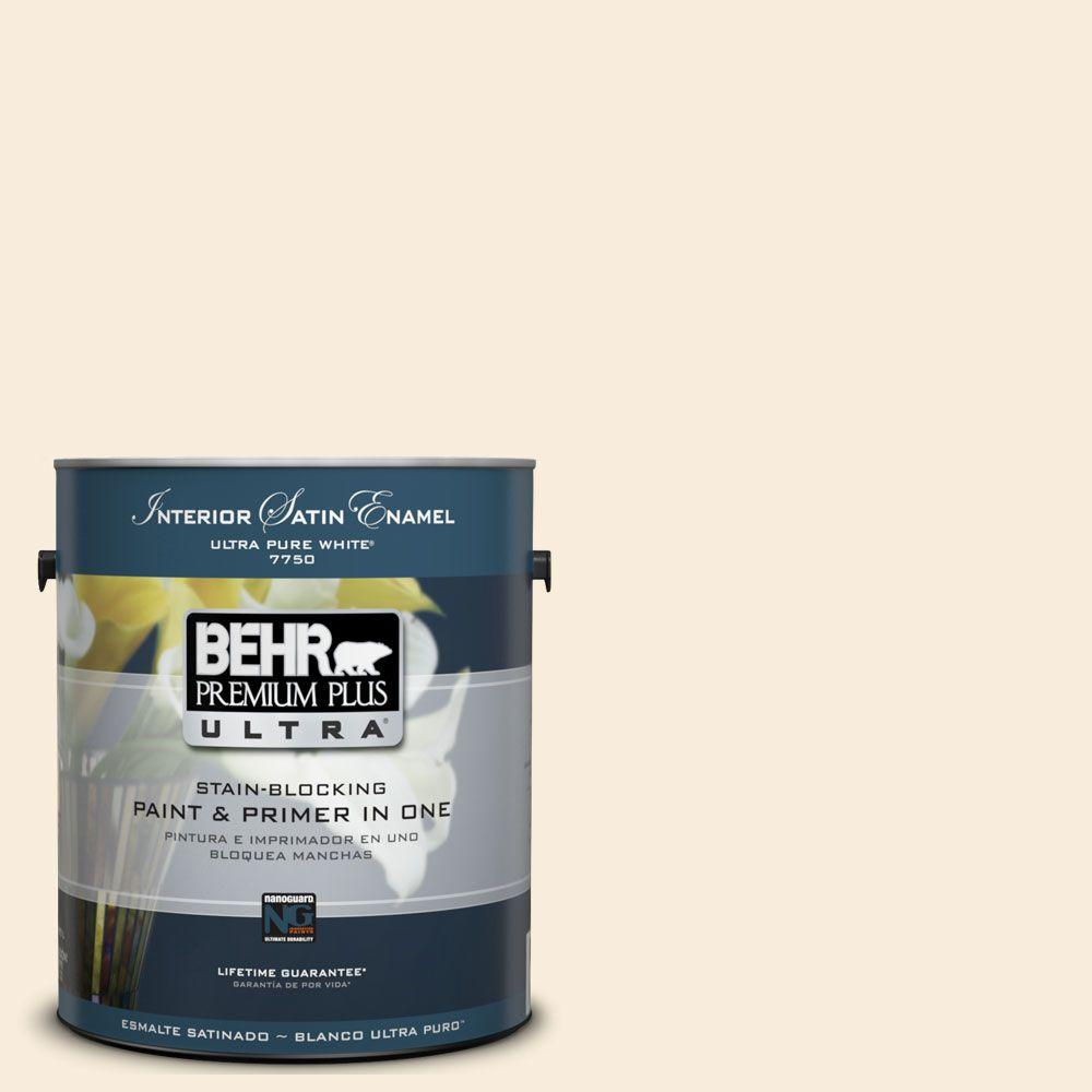 BEHR Premium Plus Ultra 1-Gal. #UL160-10 Polished Pearl Interior Satin Enamel Paint