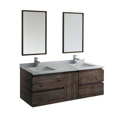 60 in. Modern Double Wall Hung Vanity in Warm Gray with Quartz Stone Vanity Top in White with White Basins and Mirror