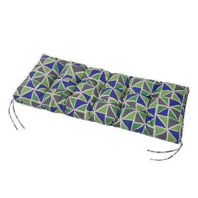 Green Geometric Tufted Rectangle Outdoor Bench Cushion