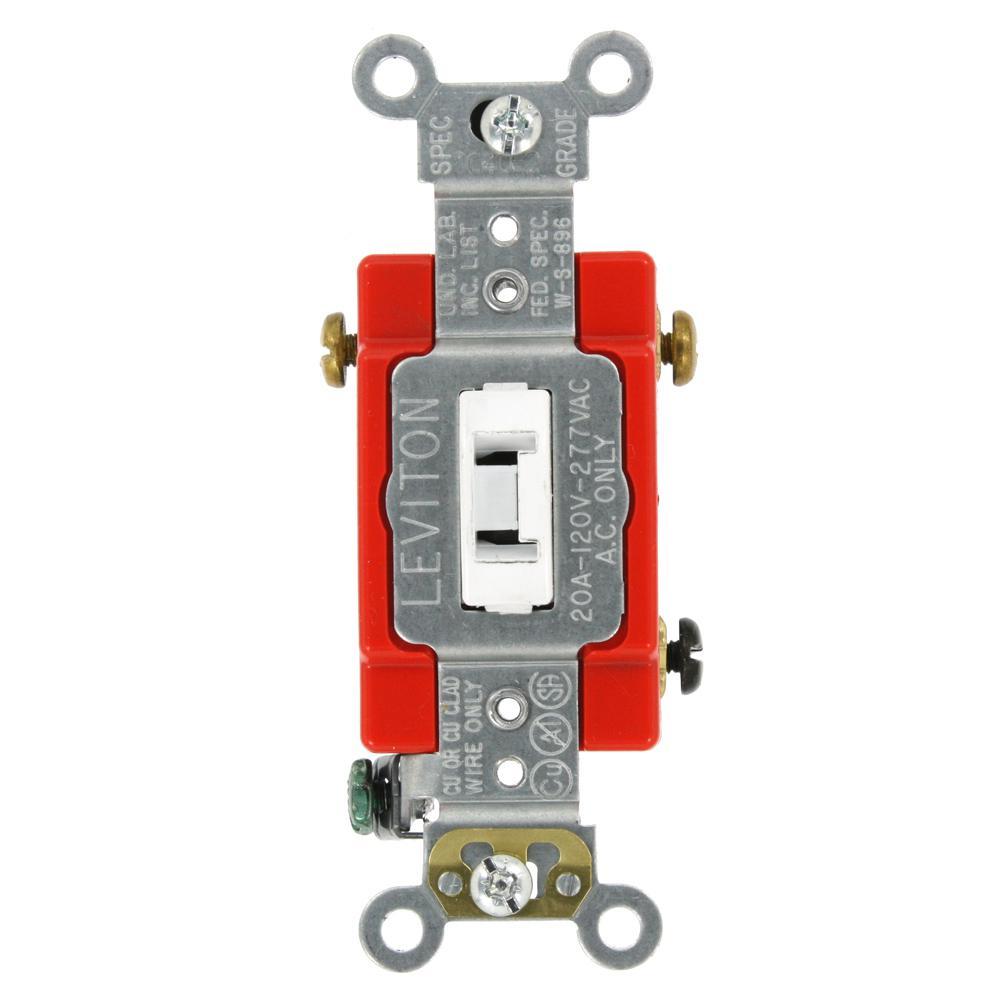 20 Amp Industrial Grade Heavy Duty 3-Way Locking Switch, White