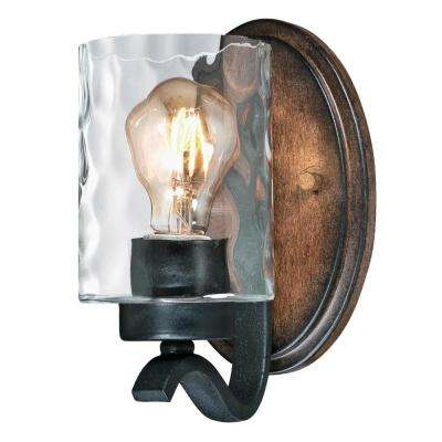 Barnwell 1-Light Textured Iron and Barnwood Wall Mount Sconce