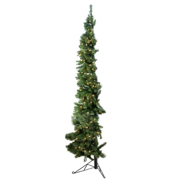7 ft. Artificial PVC Corner Christmas Tree LED White Lights with Stand