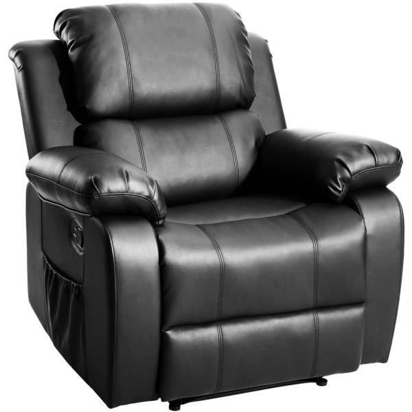 Black PU Heating Massage Recliner with 8-Vibration Motors