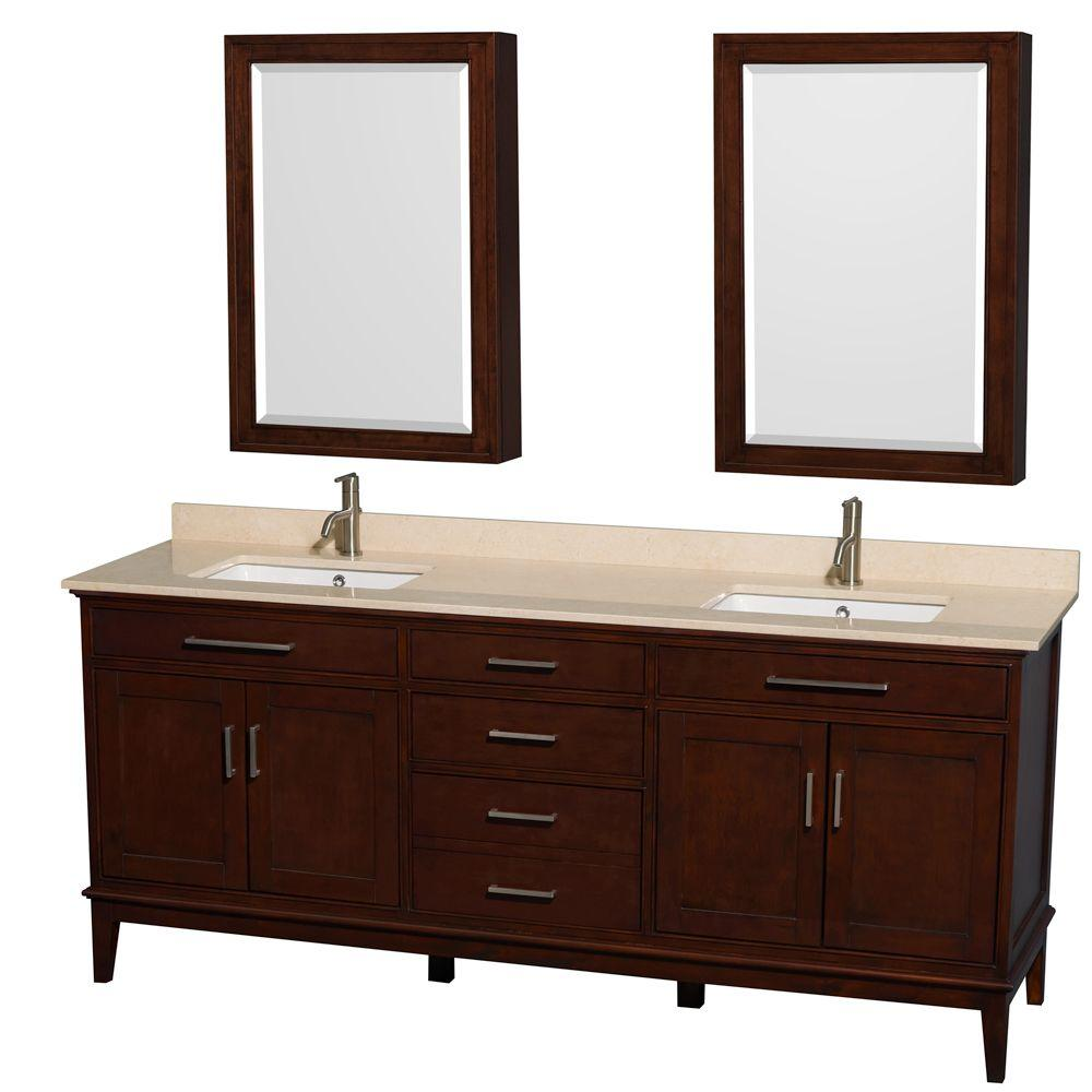 Wyndham Collection Hatton 80 in. Vanity in Dark Chestnut with Marble Vanity Top in Ivory, Square Sink and Medicine Cabinet