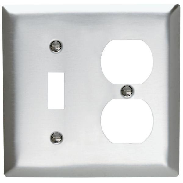 Pass & Seymour 430S/S 2 Gang 1 Toggle 1 Duplex Wall Plate, Stainless Steel (1-Pack)