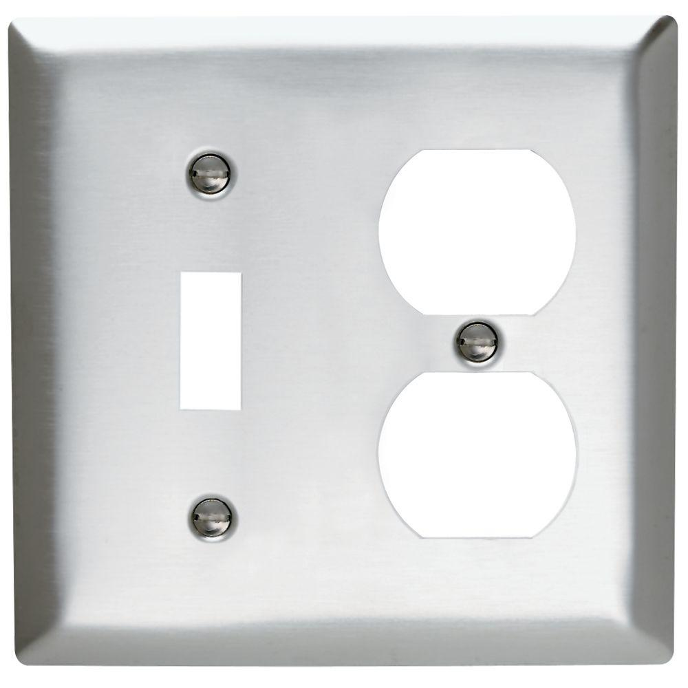 Legrand Pass & Seymour 2-Gang Combo 1 Toggle and 1 Duplex Outlet Wall Plate - Stainless Steel