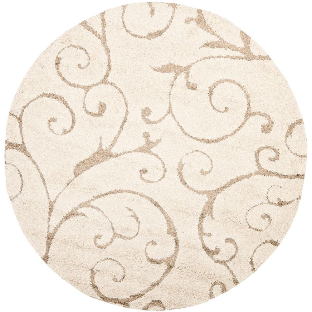 Safavieh florida shag cream beige 7 ft x 7 ft round area rug