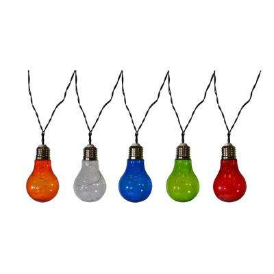 10-Light 15 ft. Solar Powered Integrated LED Multi-Color Vintage Bulb String Lights