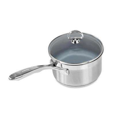 Induction 21 Steel 2 Qt. Ceramic Non-Stick Sauce Pan with Glass Lid in Stainless Steel